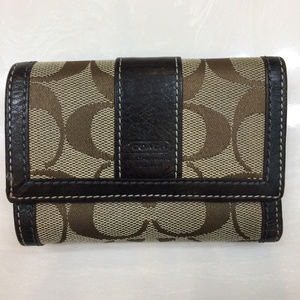 Coach Trifold Women's Wallet Brown Leather+Fabric